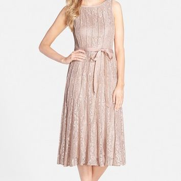 Women's Alex Evenings Glitter Lace A-Line Midi Dress