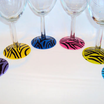 Zebra print hand painted wine glasses, Great for Weddings., Many colors to choose from. Can be personalized  . Great for bridal party gifts