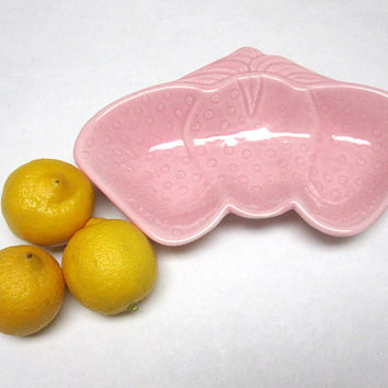 Pink Strawberry Dish Bowl Pottery Belmar California USA