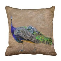 Beautiful Peacock, in texture Throw Pillow