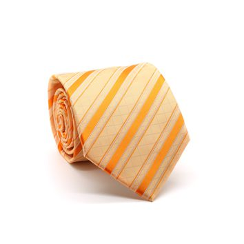 Ferrecci Mens Orange Striped Pattern Necktie with Handkerchief Set