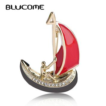 Blucome New Style Red Enamel Brooches Men Boat Sail Shape Brooch For Clothes Accessories Gold-color Corsage Pins Sweater Clips