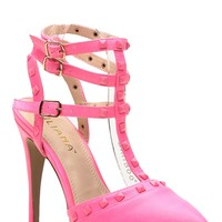 Neon Pink Faux Leather Ankle Strap Pointed Toe Heels @ Cicihot Heel Shoes online store sales:Stiletto Heel Shoes,High Heel Pumps,Womens High Heel Shoes,Prom Shoes,Summer Shoes,Spring Shoes,Spool Heel,Womens Dress Shoes