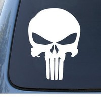 THE PUNISHER - Marvel Comics - Car, Truck, Notebook, Vinyl Decal Sticker #1042 | Vinyl Color: White