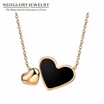Neoglory Fashion Stainless Steel Heart Necklaces Design Love Long Necklaces Pendants for Women Mother Girl Gifts Jewelry 2018