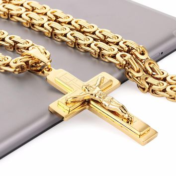 Jesus Piece Cross Necklaces & Pendants for Men Stainless Steel Chain Byzantine Necklace Christian Crucifix Jewelry Gifts NZ019
