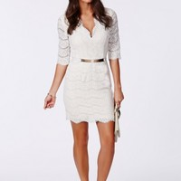 Missguided - Corrie Eyelash Lace Plunge Bodycon Dress White