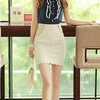 OASAP - Hip Hugging Zipped Lace Skirt - Street Fashion Store