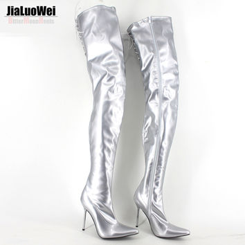 Women's Spring/Autumn Folding Over the Knee Boots Sexy Fetish PVC Thigh Thin High Heel Boots Fashion Pointed toe Boots Big Size