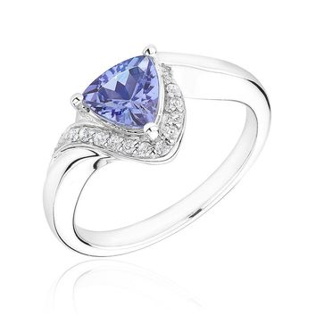 Tanzanite and Diamond Trillion Bypass Ring 1/10ctw