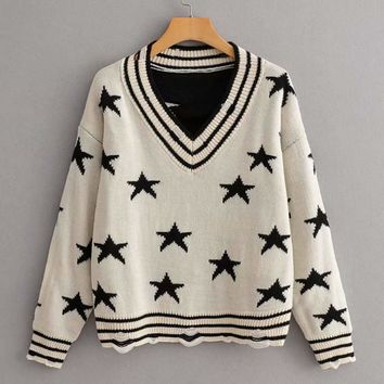 V Neck Star And Striped Pattern Ripped Sweater
