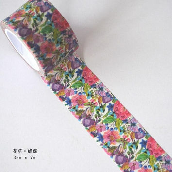 JI115 3cm Wide Bee Flower Grass Decorative Washi Tape DIY Scrapbooking Masking Tape School Office Supply Escolar Papelaria