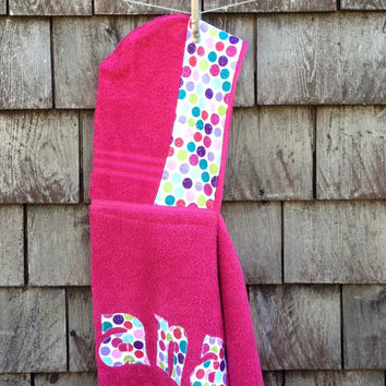 Girls Personalized Hooded Towel Raspbery Pink with polka dots Beach Pool Bath Towel Kids Children Toddler Birthday Christmas Hanukkah Gift