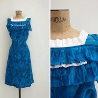 1960s Dress - Vintage 60s Blue Floral Dress - Zafiro Dress