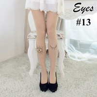 1 Pair New Fashion Sexy Hosiery Socks Cute Tattoo Patterns Sheer Pantyhose Mock Socks Women Clothing Accessory