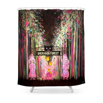 Society6 Electric Forest Shower Curtain