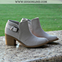 Admiring Looks Textured Buckle Booties in Oatmeal