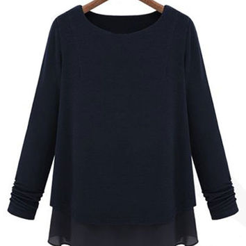 Knit Stitching Chiffon Long-Sleeved Two-Piece T-Shirt
