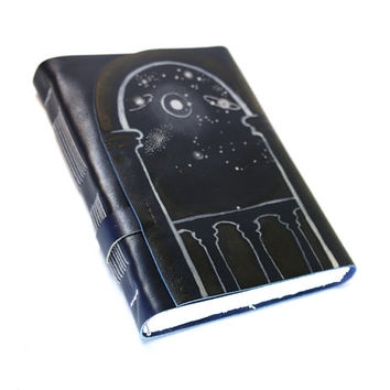 Handmade Journal Starry Night Leather Notebook - Dark Blue Leather Sketchbook - Handbound Diary