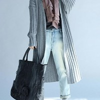 Grey Plain Collarless Casual Cardigan Sweater