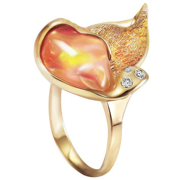 Mexican Fire Orange Opal, 14kt Yellow Gold Diamond Ring handmade by Gevani Jewelry