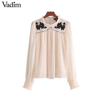 Vadim sweet floral embroidery sequined chiffon shirts ruffled neck pleated long sleeve chic blouse office lady casual top LT2455