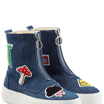 Joshua Sanders - Denim Platform Boots with Patches