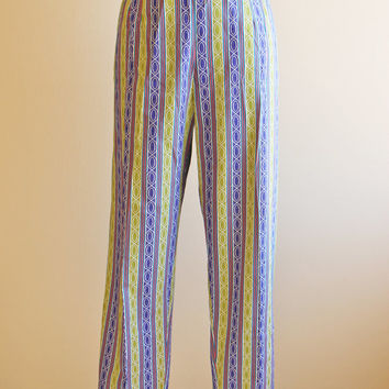 50s Pants - Vintage 1950s Pants - Purple Chartreuse Cotton High Waist Bombshell Cigarette Pants S - Neiman-Marcus