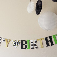 HAPPY BIRTHDAY banner, Kate spade inspired,30th Birthday, 40th Birthday, Happy 30th, Happy 40th, Happy 16th birthday banner,Special Occasion