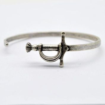 1pcs Viking Sword Bangle Men's Alloy Cuff Bracelet Medieval Knight Weapon Jewelry Adjustable Pun Bangle Bg01
