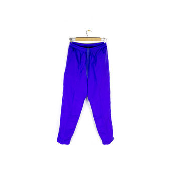 90s silk purple iridescent track pants - vintage 1990s - joggers - stretch waist - size small