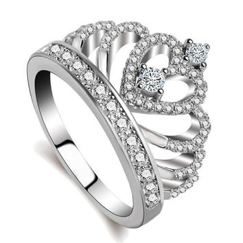 Women Wedding Original Fine Jewelry 925 Sterling Silver Crown Ring with CZ