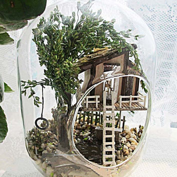 Tree House Terrarium DIY Kit Set, Elf Gnome Fairy House in Glass Jar, Indoor Decoration Hanging Home Decor