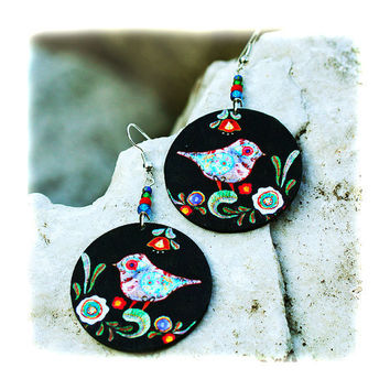 Birds Earrings Folk primitive art funky Round by MADEbyMADA