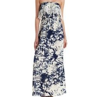 Navy Combo Crochet-Trim Strapless Maxi Dress by Charlotte Russe
