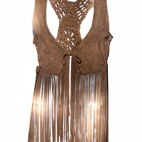 Hand Crafted Leather Macrame Women Dress with Fringes