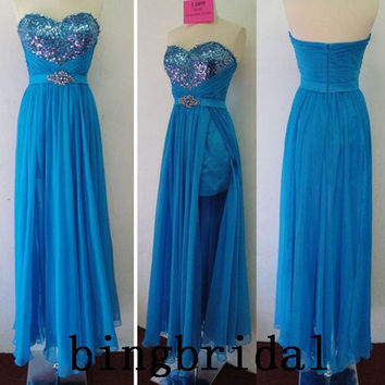 High quality sequins with sash beads Strapless by bingbridal
