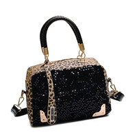 New Arrival Women Leopard Handbag Bling Sequins Tote Purse PU Leather Evening Bag