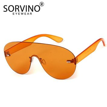 SORVINO Futuristic Oversized Rimless Shield Sunglasses 2018 Men Women 90s Designer Orange Windproof Big Sun Glasses Shades SP110