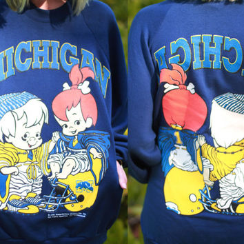 Vintage 1990s Michigan pullover sweatshirt / the flinstones / pebbles and bam-bam / cartoon