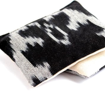 Black and White Ikat Cotton & Linen Organic Lavender Sachets Set of 2