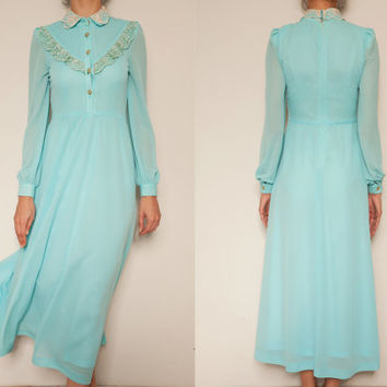 1960's japanese aqua blue vintage dress,shirtwaist dress,long dress,Aqua blue dress,S size dress,Oriental dress,Chiffon lace dress