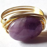 Amethyst ring, purple stone ring, wire wrap ring, Amethyst and gold, simple ring, natural stone ring, purple Amethyst ring, pepperandpomme