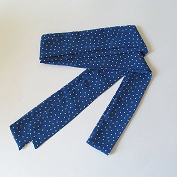 Blue Skinny Scarf, Long Thin Scarf with Angled Ends, Polka Dot Chiffon Scarf, Narrow Scarf, Neck Tie, Headband, Spring Summer Accessories