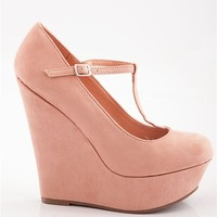 Closed Toe T-Strap Wedges - Nude