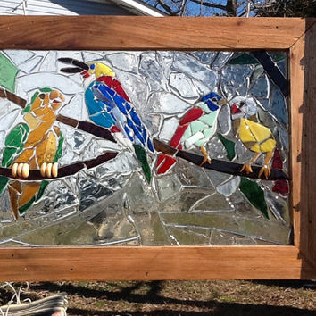 """Birds singing Stained Glass Mosaic Window Art 20"""" x 14"""" OOAK Handcrafted"""