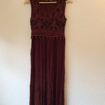 Vintage 80s Indian Rayon Hippy Embroidered Brown dress Small