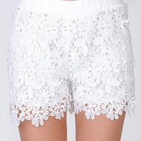 Lace Overlay Crochet Culottes Shorts