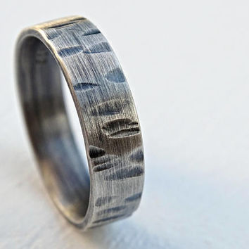 birch tree ring silver, nature wedding ring, driftwood ring wood texture, cool mens ring silver birch bark ring silver tree ring jewelry