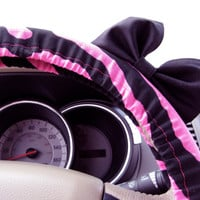 The Original Hot Pink Zebra Steering Wheel Cover with Matching Black Bow